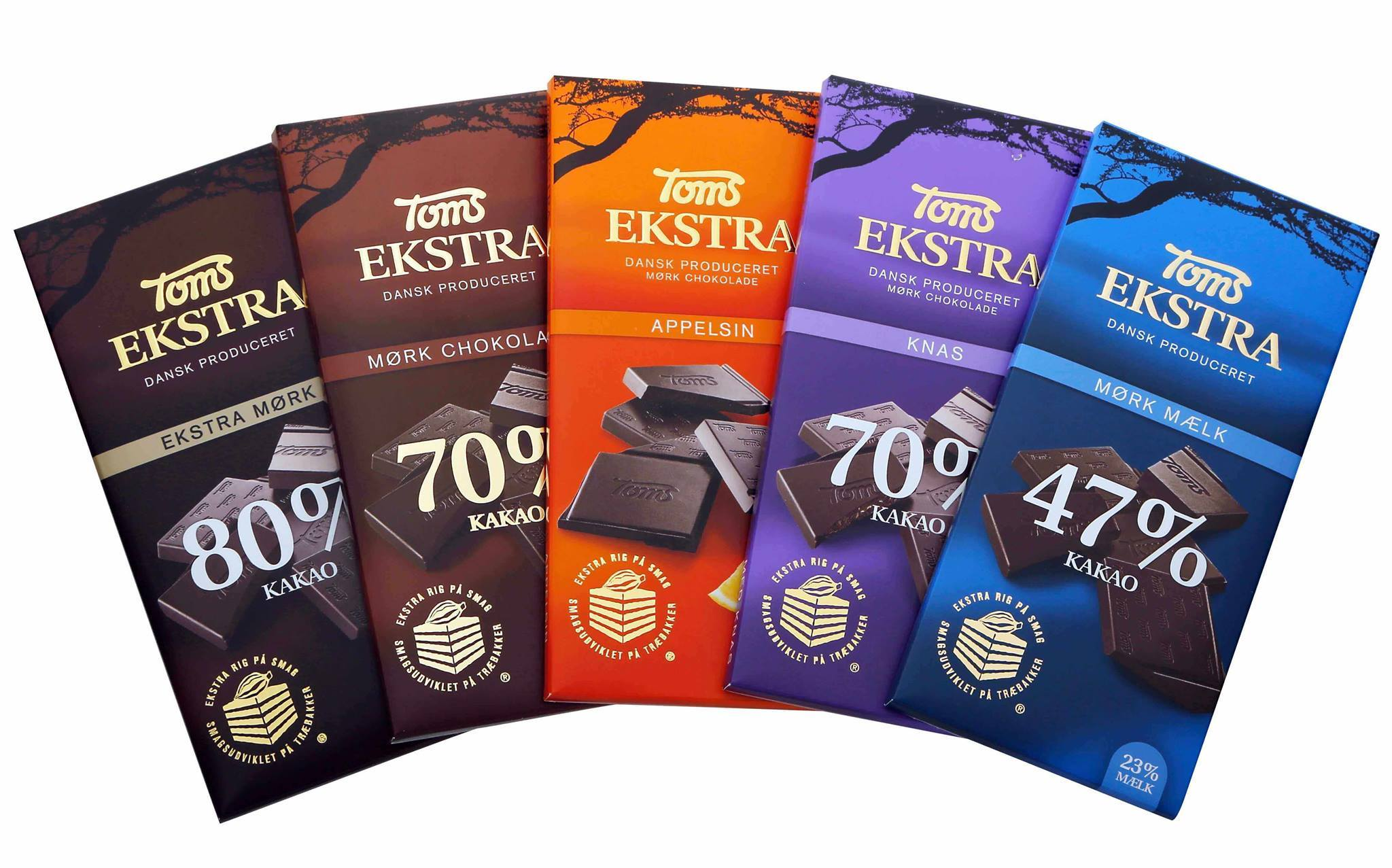 ​  Extra rich in taste with cocoa beans matured on wooden trays in Ghana's rainforest. Toms Extra was launched in 2010. Photo: Toms Group.  ​