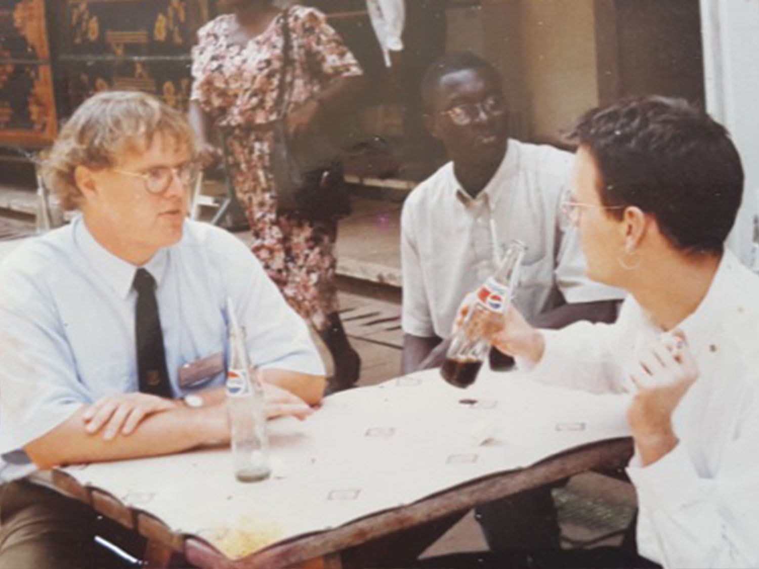 Cheikh Mbow with Danish friends Thomas Theis Nielsen (right) and Lars Nielsen (left) in Ghana 1998. Photo: Cheikh Mbow curtesy.