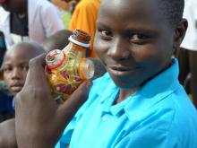 Workshops in Gulu, Uganda teaching kids about waste management